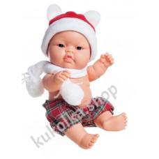 Куколка-пупс в новогоднем наряде, мальчик, азиат, Лукас, 22 см