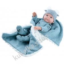 Куколка Бэби с серым одеялком, мальчик, 32 см