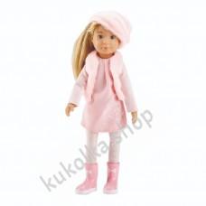 Куколка ВЕРА В РОЗОВОМ ПАЛЬТО И БЕРЕТКЕ (Kruselings), 23 см